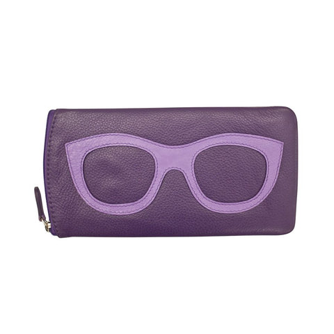 ili New York Leather Glasses Case - Style: 6462 - Purple
