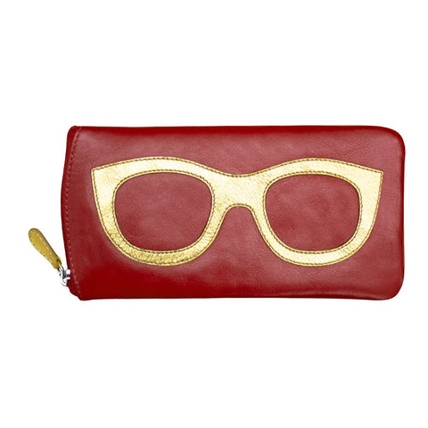 ili New York Leather Glasses Case - Style: 6462 - Red/Gold