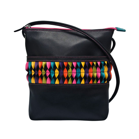 ili New York Leather Cross Body Bag RFID Protected - Style: 6631 - Black Brights