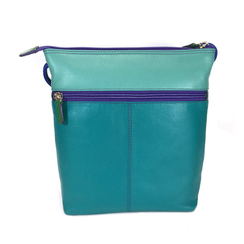 ili New York Leather Cross Body Bag RFID Protected - Style: 6631 - Cool Tropics