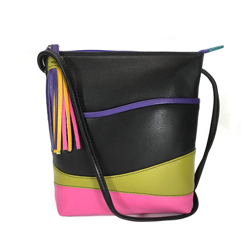 ili New York Leather Cross Body / Shoulder Bag RFID Protected - Style: 6657 - Black Brights