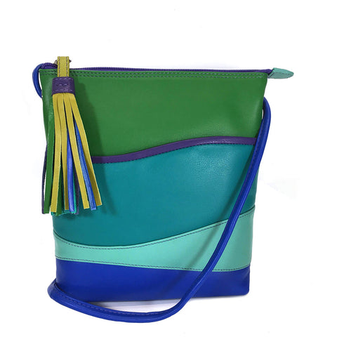 ili New York Leather Cross Body / Shoulder Bag RFID Protected - Style: 6657 - Cool Tropics