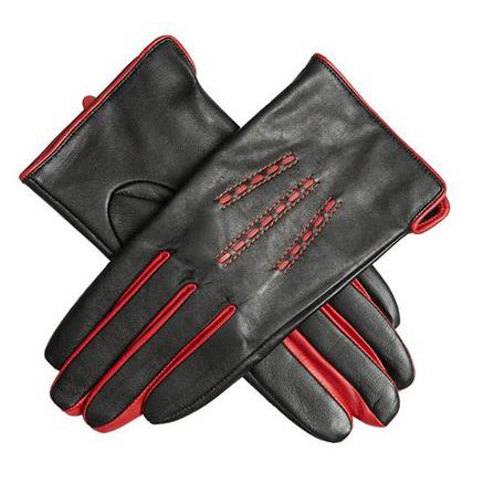 Dents Penelope Womens Leather Gloves with Contrast Piping - Style: 7-2448 Black/Red