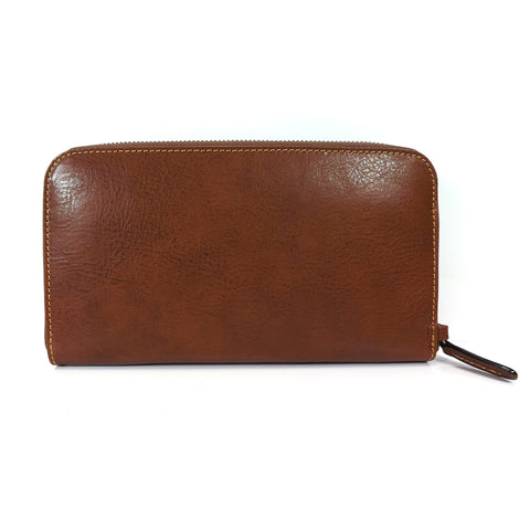 Gianni Conti Leather Wrist Bag / Large Wallet Purse - Style: 912209