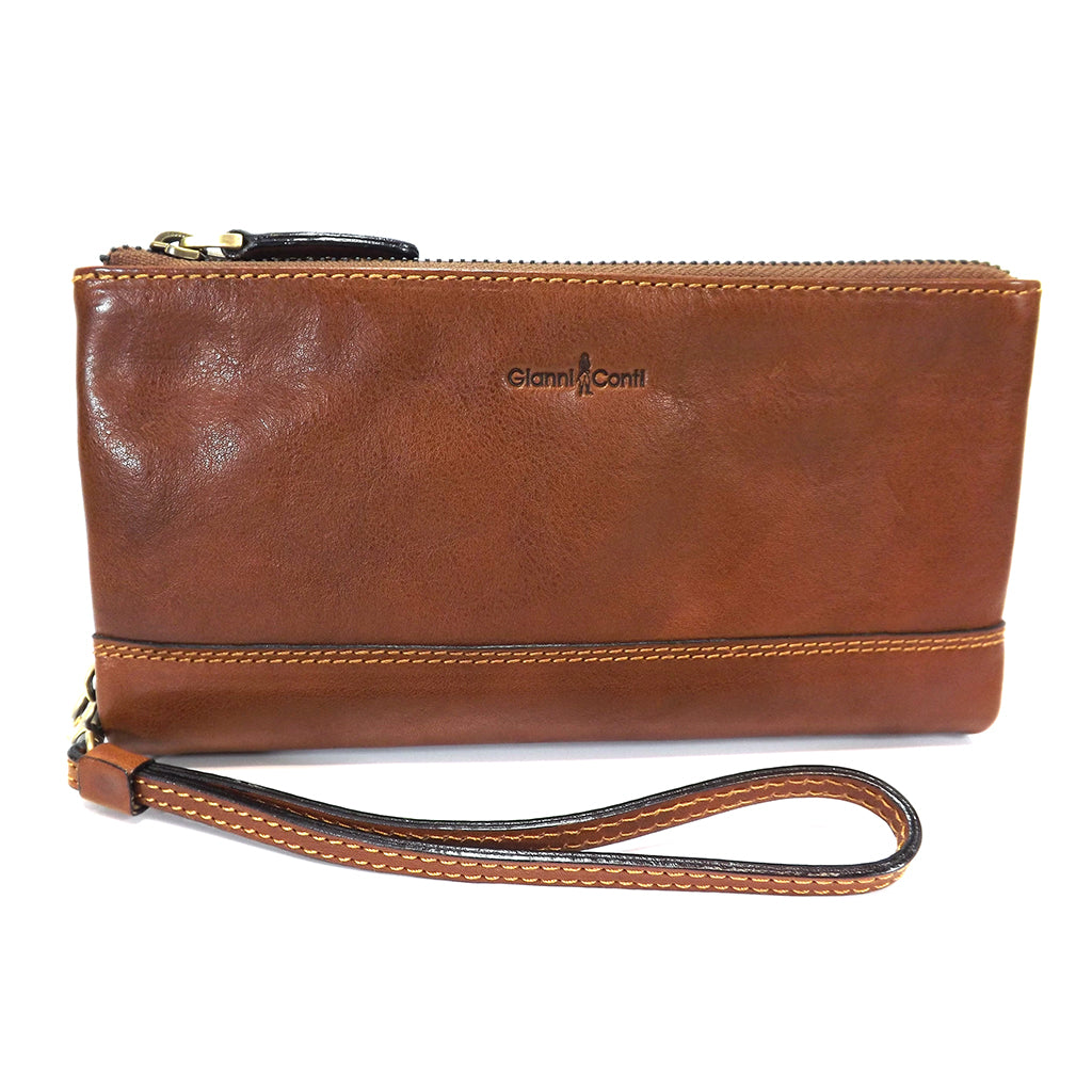 Gianni Conti Leather Wrist Bag / Large Wallet Purse - Style: 912211