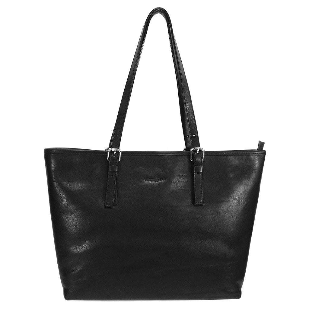 Gianni Conti Zip Top Shoulder Tote Bag - Style: 913180 Black