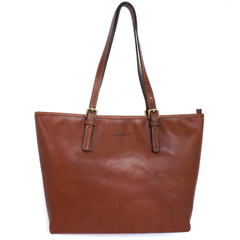 Gianni Conti Zip Top Shoulder Tote Bag - Style: 913180 Tan