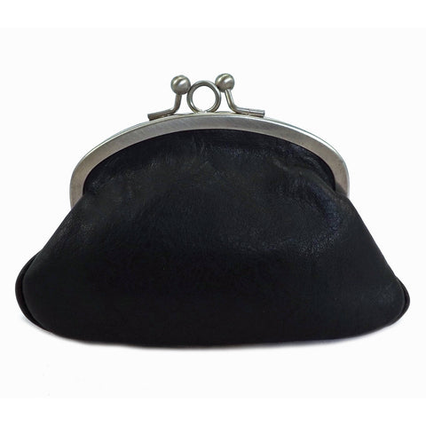 Gianni Conti Purse - Leather Clip Top Change Purse - Black - Style: 918092