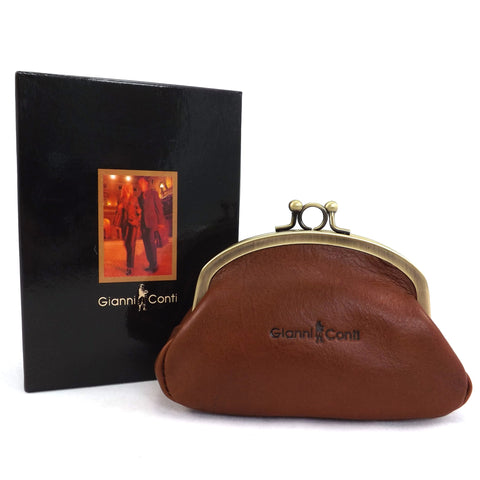 Gianni Conti Purse - Leather Clip Top Change Purse - Tan - Style: 918092