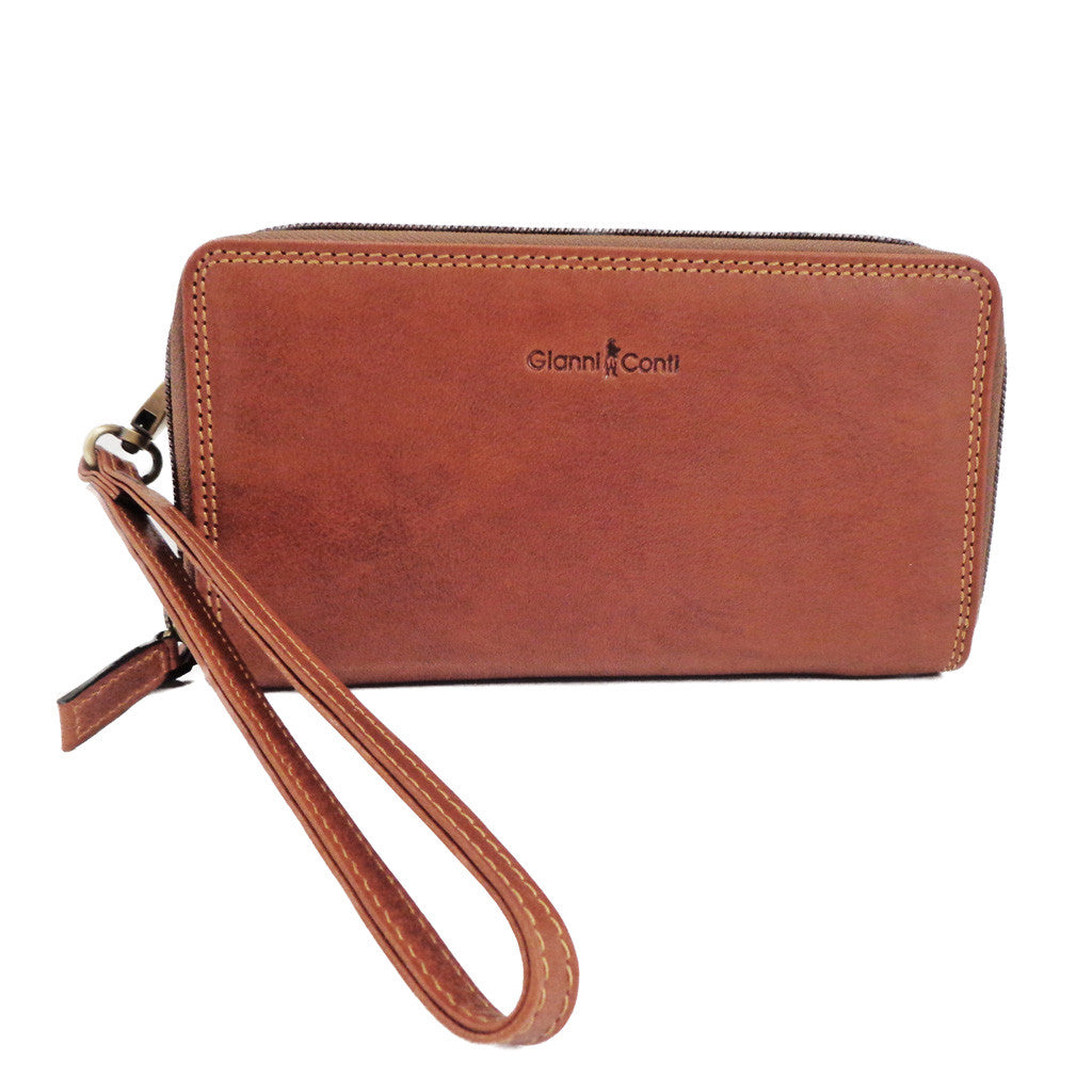 Gianni Conti Leather Wrist Bag / Large Wallet Purse - Style: 918406