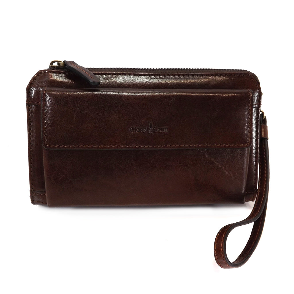 Gianni Conti Leather Wrist Bag / Clutch Bag - Style: 9402204