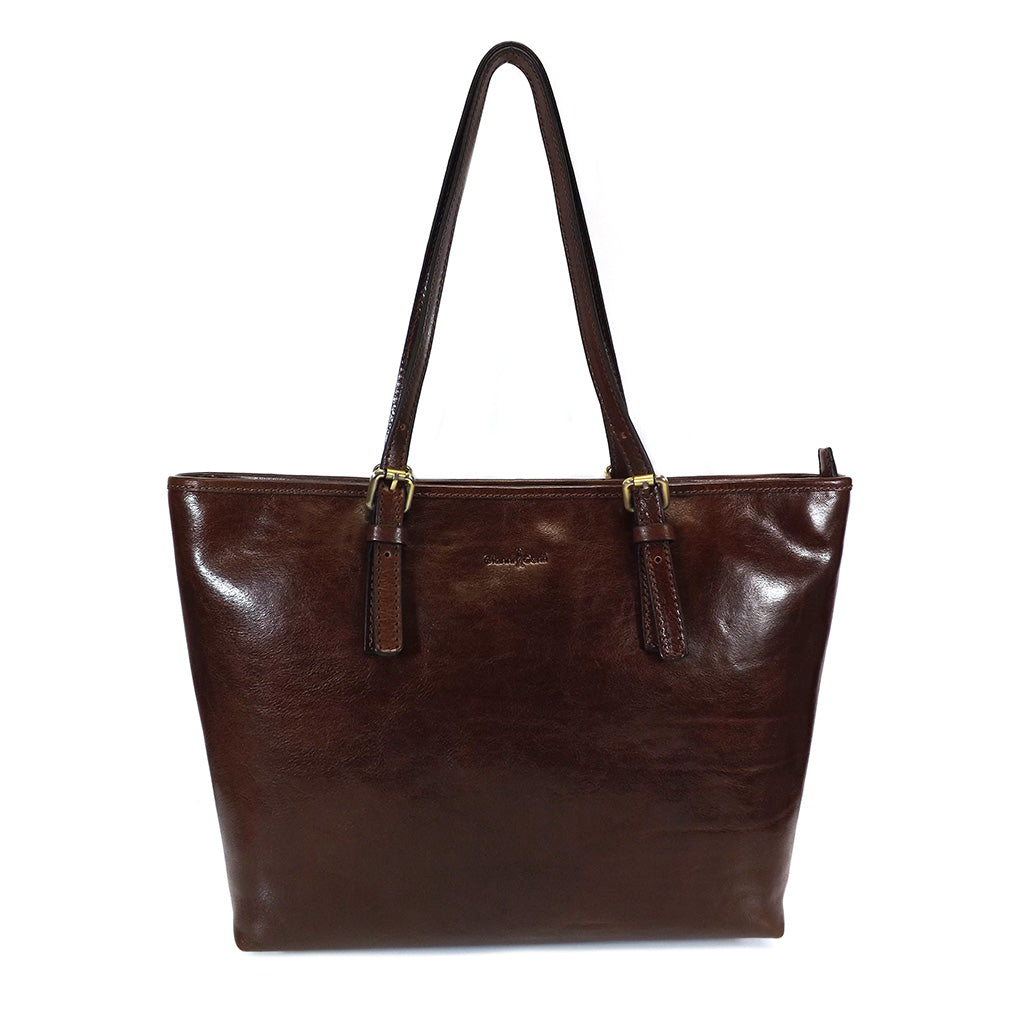 Gianni Conti Zip Top Shoulder Tote Bag - Style: 9403180 Brown
