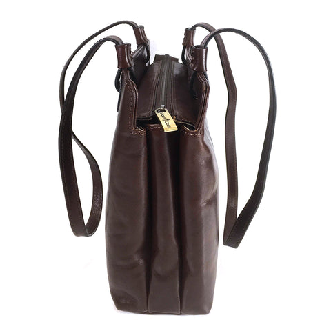 Gianni Conti Zip Top  Long Handle Shoulder Bag - Style: 9403660 Brown