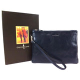 Gianni Conti Leather Wrist / Clutch Bag - Style: 9405070 Blue
