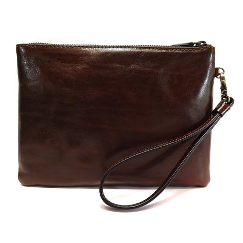 Gianni Conti Leather Wrist / Clutch Bag - Style: 9405070 Brown