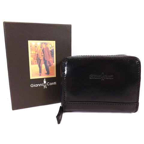 Gianni Conti Leather RFID Credit Card Holder - Style: 9407052 Black