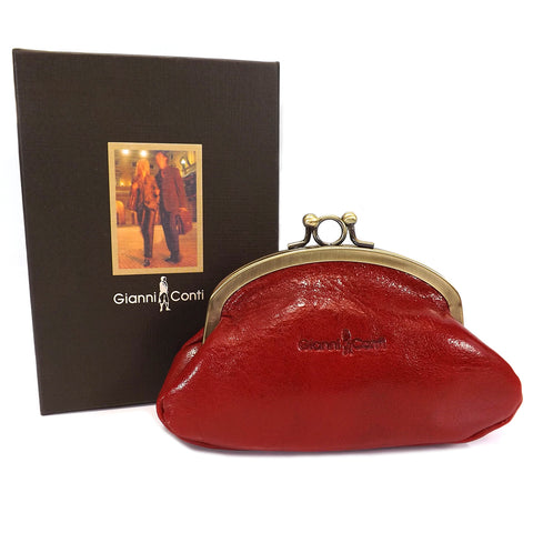 Gianni Conti Purse - Leather Clip Top Change Purse - Red - Style: 9408092