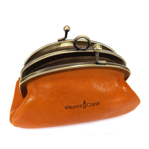 Gianni Conti Purse - Leather Clip Top Change Purse - Light Tan - Style: 9408092