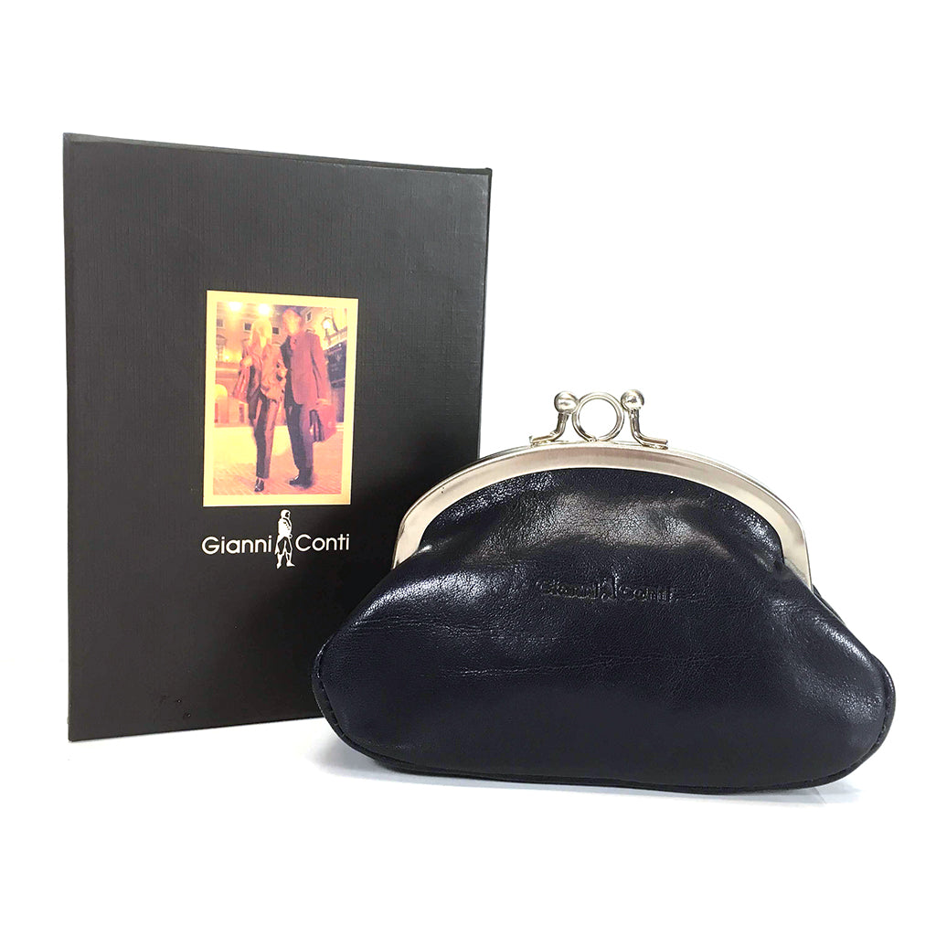 Gianni Conti Purse - Leather Clip Top Change Purse - Jeans Blue - Style: 9408092