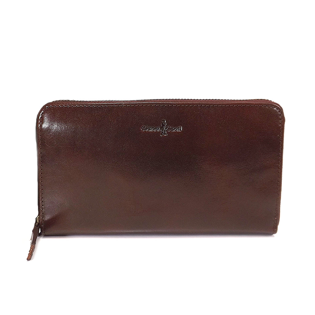 Gianni Conti Purse - Large Leather Zip Around - Style: 9408106 - Brown