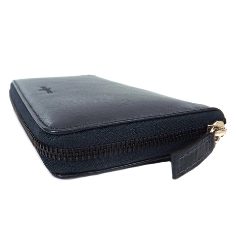 Gianni Conti Purse - Large Leather Zip Around - Style: 9408106 - Navy Blue