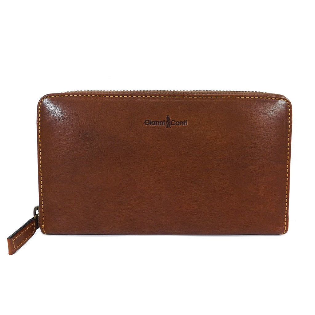 Gianni Conti Purse - Large Leather Zip Around - Tan - Style: 918106