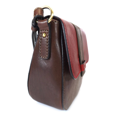 Gianni Conti Flap Front Shoulder Bag - Style: 973866 - Dark Brown Multi