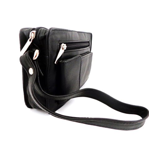 Black Leather Mans Bag with Wrist Strap - Style 252145
