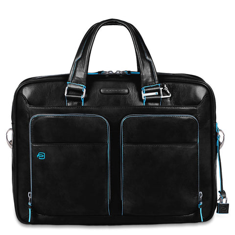 Piquadro  Leather Portfolio Computer Briefcase - CA2849B2 Black