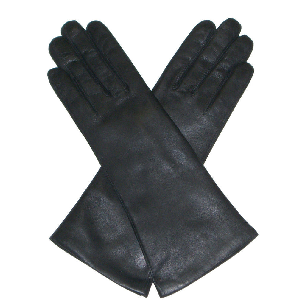 Dents Helene  Women's 100% Cashmere Lined Long Plain Leather Gloves - Style: 7-1096