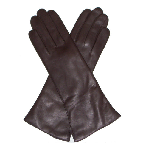Dents Helene  Women's 100% Cashmere Lined Long Plain Leather Gloves -  Black or Brown - Style: 71096