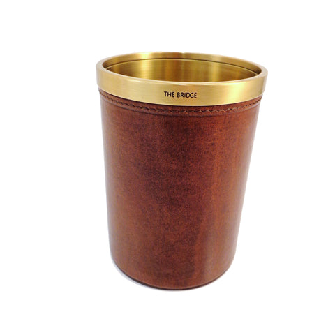 The Bridge - Leather & Brass Pen Pot - Style: 099122/01