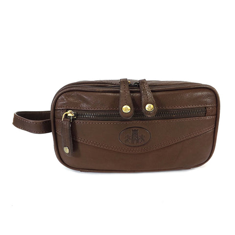 Rowallan Leather Wash Bag - Style: 33-9788 Brown