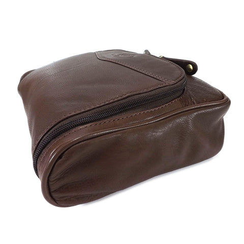 Rowallan Leather Hanging Wash Bag - Style: 33-9789 Brown