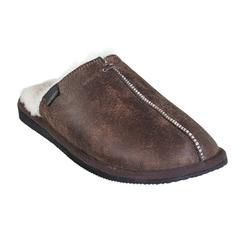 Shepherd - Mens Sheepskin Mule Slipper - Style: Hugo 1201 Oiled Antique
