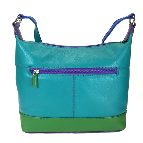 ili New York Leather Slouch Shoulder Bag RFID Protected - Style: 6670 - Cool Tropics