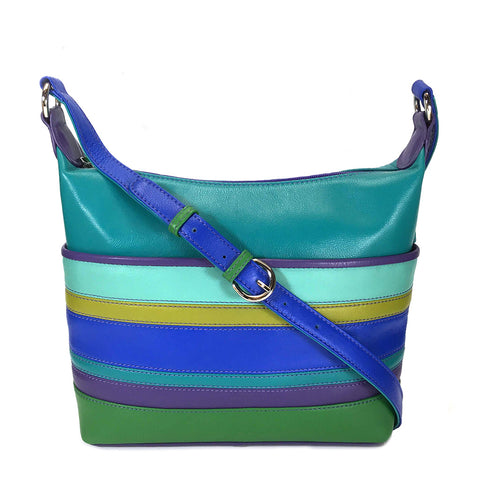 ili New York Leather Slouch Shoulder Bag -  6670 - Cool Tropics