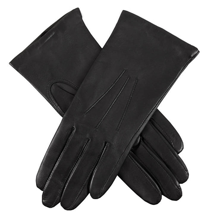Dents Isabelle Black Women's 100% Cashmere Lined Leather Gloves - Style: 7-1134