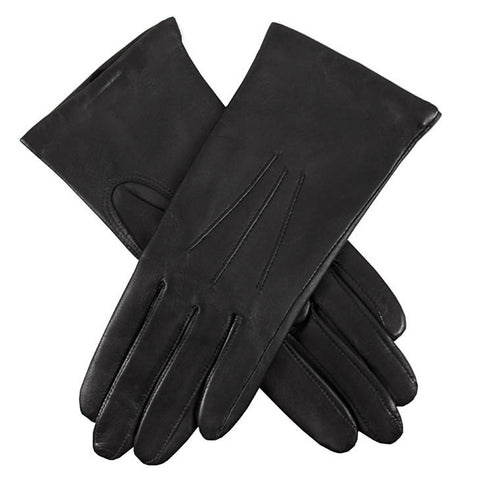 Dents Isabelle Black Women's 100% Cashmere Lined Leather Gloves - Style: 71134