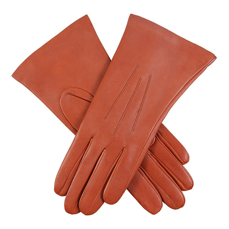 Dents Isabelle Cognac Women's 100% Cashmere Lined Leather Gloves - Style: 7-1134
