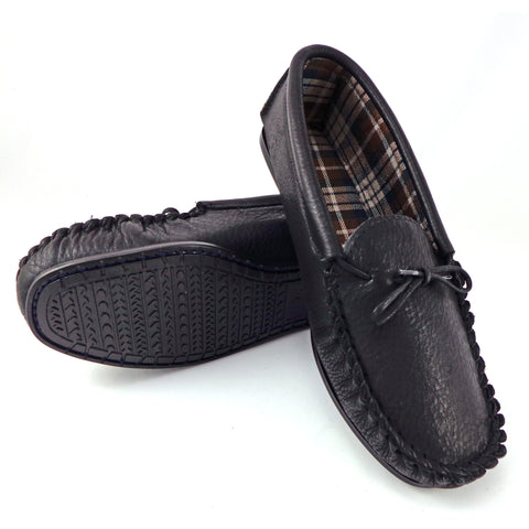 Mens Leather Moccasin Slipper with Fabric Lining - Style 13