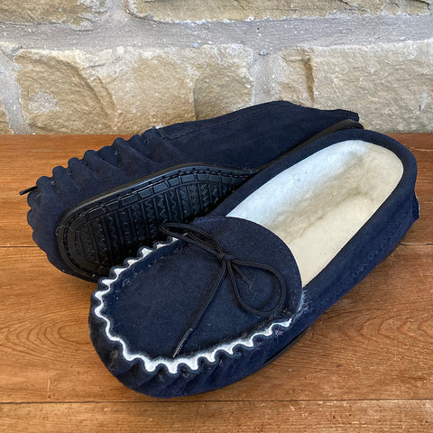 Womens Wool Lined Suede Moccasin Slipper with Hard Soles - Style 02 Navy