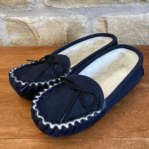 Mens Wool Lined Suede Moccasin Slippers with Hard Soles - Style 04 Navy