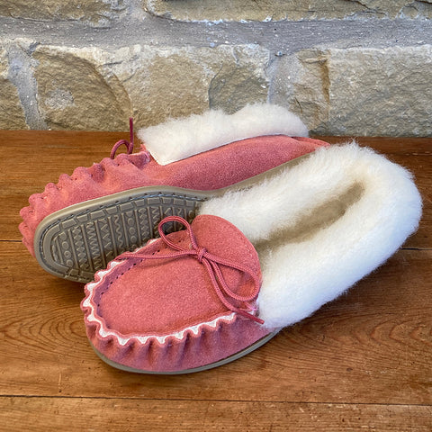 Womens Wool Lined Suede Moccasin Slipper with Wool Collar and Hard Sole - Style 06 Pink