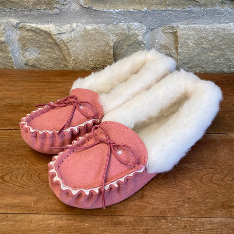 Womens Wool Lined Suede Moccasin Slippers with Wool Collar - Style 05 Pink