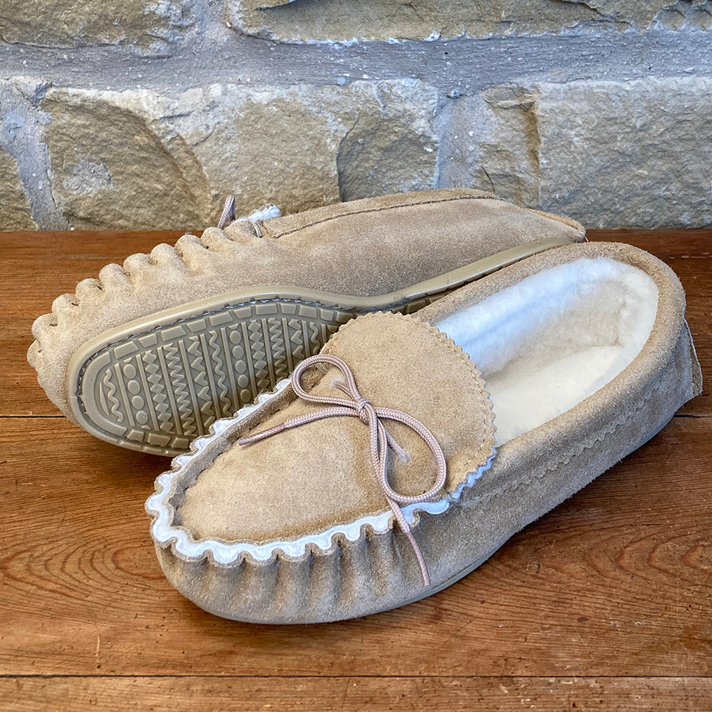 Womens 100% Sheepskin Lined Suede Moccasin Slipper with Hard Soles - Style 08