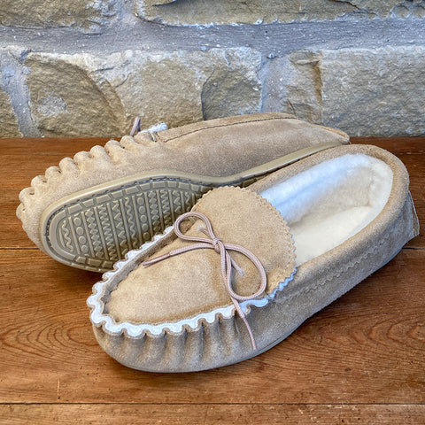 Mens 100% Sheepskin Lined Suede Moccasins with Hard Soles - Style 10
