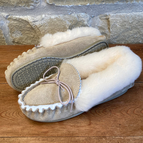 Womens 100% Sheepskin Lined Suede Moccasin Slipper with Sheepskin Collar & Hard Sole - Style 12