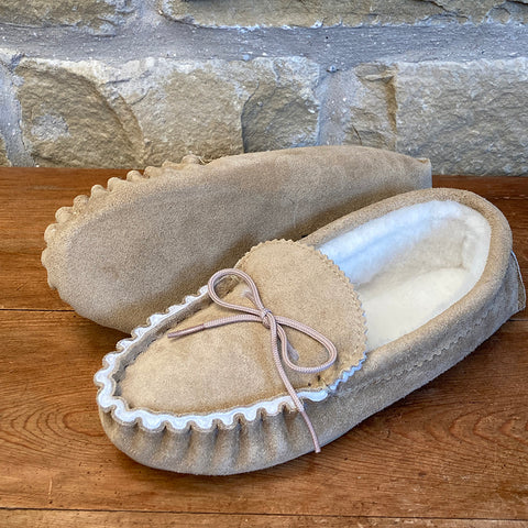 Mens 100% Sheepskin Lined Suede Moccasins - Style 09