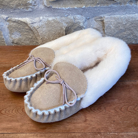 Womens 100% Sheepskin Lined Suede Moccasin Slipper with Sheepskin Collar - Style 11